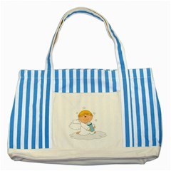 Angel Baby Bottle Cute Sweet Striped Blue Tote Bag by Nexatart
