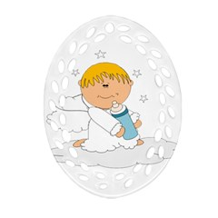Angel Baby Bottle Cute Sweet Oval Filigree Ornament (two Sides)