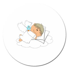 Sweet Dreams Angel Baby Cartoon Magnet 5  (round) by Nexatart