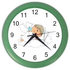 Sweet Dreams Angel Baby Cartoon Color Wall Clocks by Nexatart