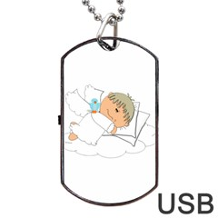 Sweet Dreams Angel Baby Cartoon Dog Tag Usb Flash (one Side)