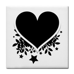 Silhouette Heart Black Design Tile Coasters