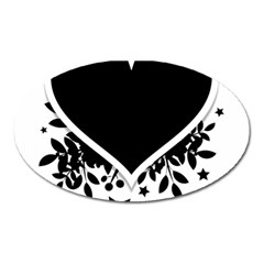 Silhouette Heart Black Design Oval Magnet