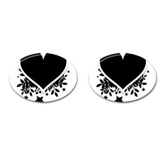 Silhouette Heart Black Design Cufflinks (oval) by Nexatart