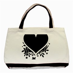 Silhouette Heart Black Design Basic Tote Bag by Nexatart