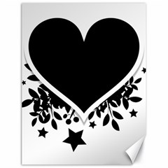Silhouette Heart Black Design Canvas 18  X 24   by Nexatart
