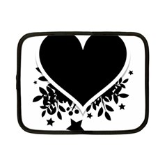 Silhouette Heart Black Design Netbook Case (small)  by Nexatart
