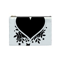 Silhouette Heart Black Design Cosmetic Bag (medium)  by Nexatart