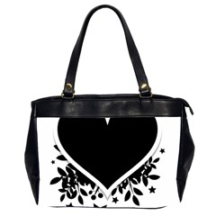 Silhouette Heart Black Design Office Handbags (2 Sides)  by Nexatart