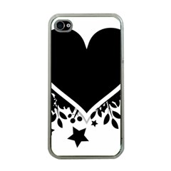 Silhouette Heart Black Design Apple Iphone 4 Case (clear) by Nexatart