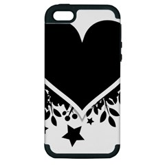 Silhouette Heart Black Design Apple Iphone 5 Hardshell Case (pc+silicone)