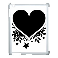 Silhouette Heart Black Design Apple Ipad 3/4 Case (white) by Nexatart