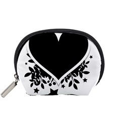 Silhouette Heart Black Design Accessory Pouches (small)  by Nexatart