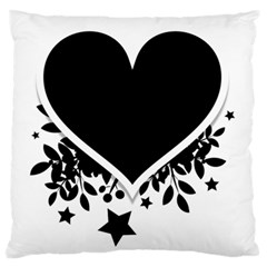Silhouette Heart Black Design Large Flano Cushion Case (two Sides)