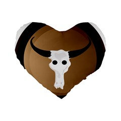 Logo The Cow Animals Standard 16  Premium Flano Heart Shape Cushions by Nexatart