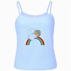 Angel Rainbow Cute Cartoon Angelic Baby Blue Spaghetti Tank by Nexatart