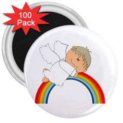 Angel Rainbow Cute Cartoon Angelic 3  Magnets (100 Pack) by Nexatart