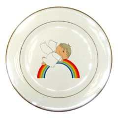 Angel Rainbow Cute Cartoon Angelic Porcelain Plates by Nexatart