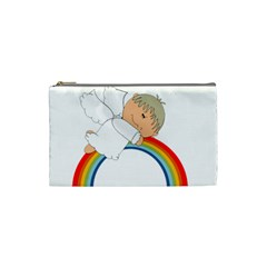 Angel Rainbow Cute Cartoon Angelic Cosmetic Bag (small)  by Nexatart