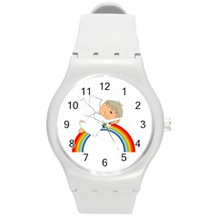Angel Rainbow Cute Cartoon Angelic Round Plastic Sport Watch (m) by Nexatart