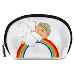 Angel Rainbow Cute Cartoon Angelic Accessory Pouches (large)  by Nexatart
