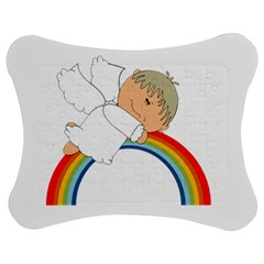 Angel Rainbow Cute Cartoon Angelic Jigsaw Puzzle Photo Stand (bow) by Nexatart