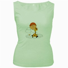 Pet Giraffe Angel Cute Boy Women s Green Tank Top