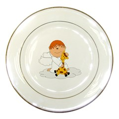 Pet Giraffe Angel Cute Boy Porcelain Plates by Nexatart