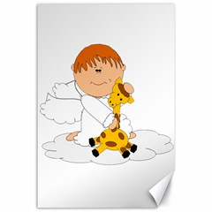 Pet Giraffe Angel Cute Boy Canvas 24  X 36  by Nexatart