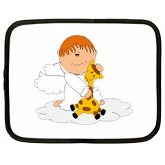 Pet Giraffe Angel Cute Boy Netbook Case (xl)  by Nexatart