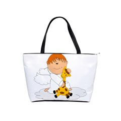 Pet Giraffe Angel Cute Boy Shoulder Handbags by Nexatart