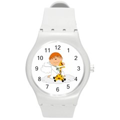 Pet Giraffe Angel Cute Boy Round Plastic Sport Watch (m)