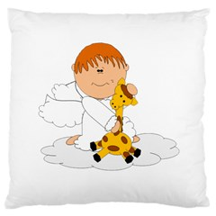 Pet Giraffe Angel Cute Boy Large Cushion Case (two Sides) by Nexatart