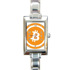 Bitcoin Cryptocurrency Currency Rectangle Italian Charm Watch by Nexatart