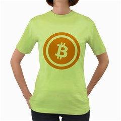 Bitcoin Cryptocurrency Currency Women s Green T-shirt by Nexatart