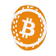 Bitcoin Cryptocurrency Currency Oval Filigree Ornament (two Sides) by Nexatart