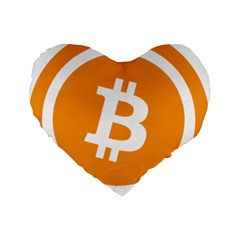 Bitcoin Cryptocurrency Currency Standard 16  Premium Heart Shape Cushions by Nexatart