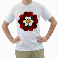 Flower Rose Glass Church Window Men s T-shirt (white) (two Sided) by Nexatart