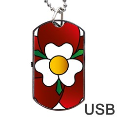 Flower Rose Glass Church Window Dog Tag Usb Flash (two Sides) by Nexatart