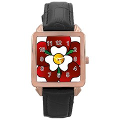 Flower Rose Glass Church Window Rose Gold Leather Watch