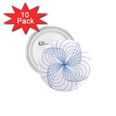 Blue Spirograph Pattern Drawing Design 1 75  Buttons (10 Pack) by Nexatart