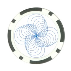 Blue Spirograph Pattern Drawing Design Poker Chip Card Guard (10 Pack)