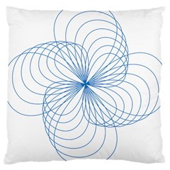Blue Spirograph Pattern Drawing Design Large Cushion Case (two Sides) by Nexatart