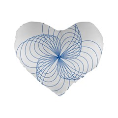 Blue Spirograph Pattern Drawing Design Standard 16  Premium Flano Heart Shape Cushions by Nexatart