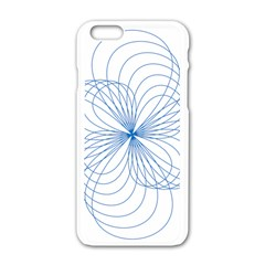 Blue Spirograph Pattern Drawing Design Apple Iphone 6/6s White Enamel Case by Nexatart