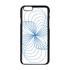 Blue Spirograph Pattern Drawing Design Apple Iphone 6/6s Black Enamel Case by Nexatart