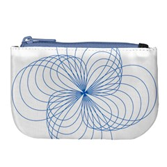 Blue Spirograph Pattern Drawing Design Large Coin Purse