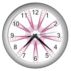 Spirograph Pattern Circle Design Wall Clocks (silver)  by Nexatart