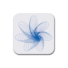 Spirograph Pattern Drawing Design Blue Rubber Coaster (square)  by Nexatart