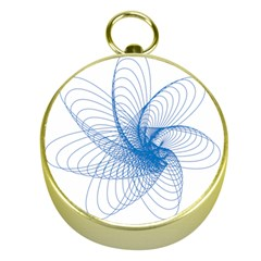 Spirograph Pattern Drawing Design Blue Gold Compasses